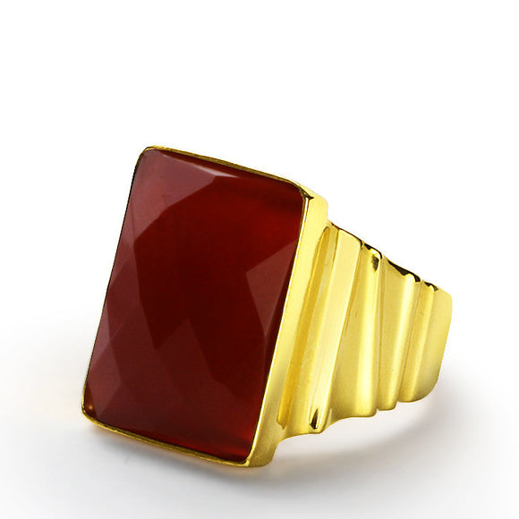 Men's Ring in 14k Yellow Gold with Natural Red Agate Stone - J  F  M