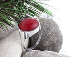Men's Ring Sterling Silver with Natural Red Agate, Men's Stone Ring - J  F  M
