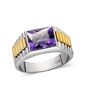 Solid Fine 14k White Gold Mens Ring With Rectangle Purple Amethyst Stone All Sz
