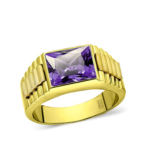 18K Yellow Gold Plated Mens Heavy Silver Ring with Purple Amethyst Gem All Sz