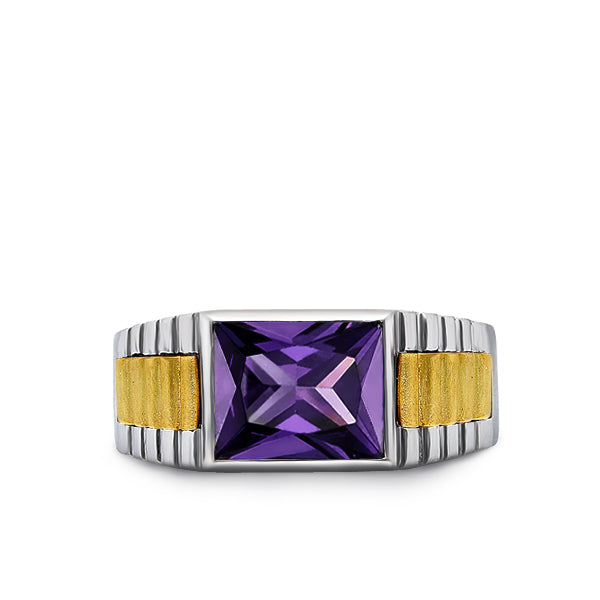 Mens Band Heavy Ring Amethyst Gemstone Solid Fine 925K Sterling Silver Jewelry