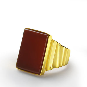 Men's Statement Ring wiht Red Agate Stone in 10k Yellow Gold, Natural Stone Ring for Men - J  F  M