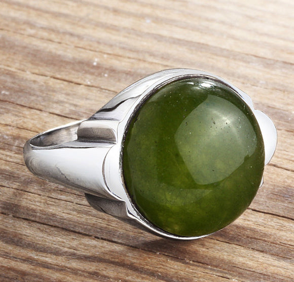 Men's Ring 925 Sterling Silver with Natural Green Agate Gemstone - J  F  M