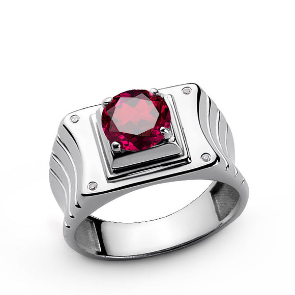 Statement Men's Ring in 925 Sterling Silver with Red Ruby and Genuine Diamonds - J  F  M