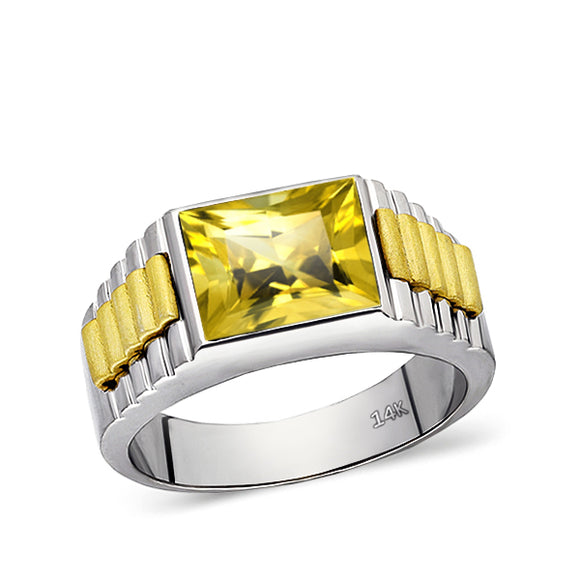 Solid Fine 14k White Gold Mens Ring With Rectangle Yellow Citrine Stone All Sz