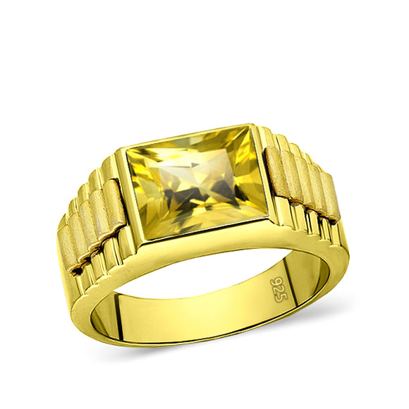 Metal: .925 Sterling Silver (18K Yellow Gold Plated) Side parts: .925 Sterling Silver (18K Yellow Matte Gold Plated) Stone: Yellow Citrine Cut: Rectangular Dimensions: 8mm x 10mm