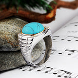 Men's Ring Sterling Silver with Natural Diamonds and Blue Turquoise - J  F  M
