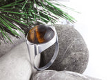 925 Sterling Silver Men's Ring with Brown Tiger's Eye Natural Stone - J  F  M