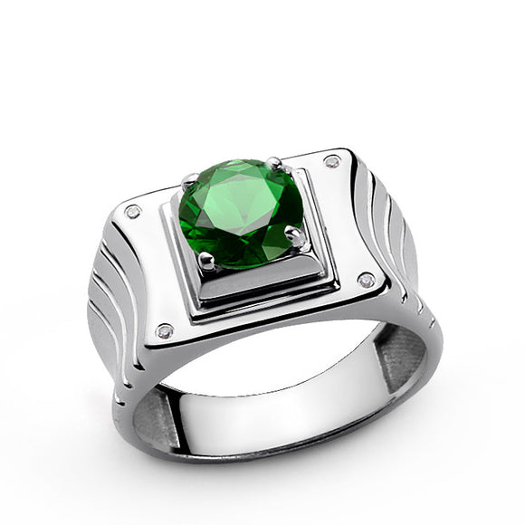 Sterling Silver Men's Ring with Diamonds and Green Emerald Gemstone - J  F  M