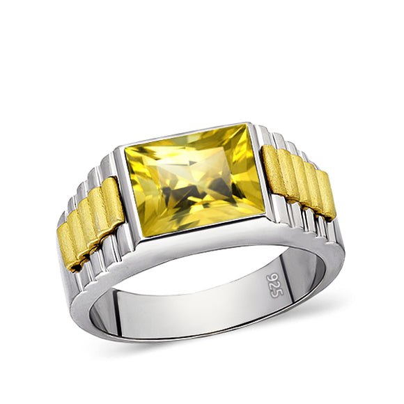 NEW Solid Fine 925K Sterling Silver Jewelry Mens Heavy Ring Citrine Gemstone