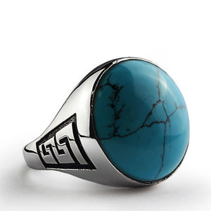 925 Sterling Silver Men's Ring with Natural Blue Turquoise Gemstone - J  F  M