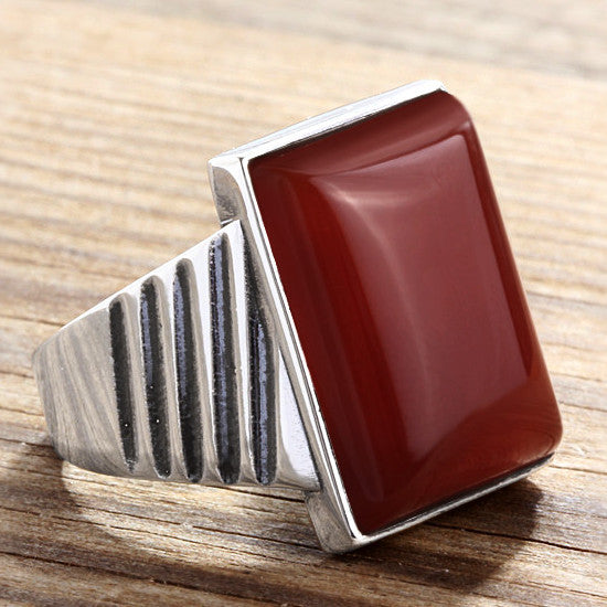 Men's Ring 925 Sterling Silver with Natural Agate, Red Stone Men's Statement Ring - J  F  M