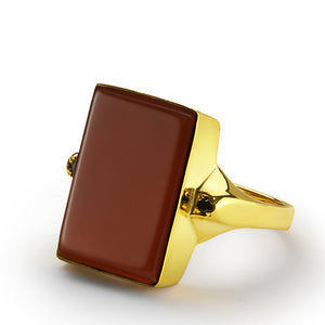 10k Solid Gold Men's Ring with Red Agate Stone, Statement Ring for Men - J  F  M