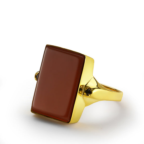 14k Yellow Solid Gold Men's Ring with Red Agate Natural Stone - J  F  M