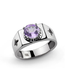 Men's Signet Ring with Purple Amethyst Gemstone in 925 Sterling Silver - J  F  M