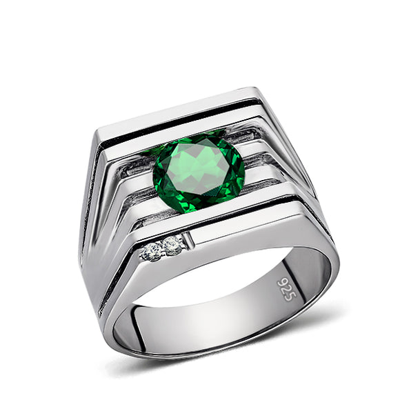 Heavy Men's Ring Green Emerald Gemstone and 2 DIAMONDS in Solid Sterling Silver