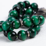 Islamic 33 Stone Rosary Green Tiger's Eye Natural Gemstone Tasbih Sufi Worry Beads