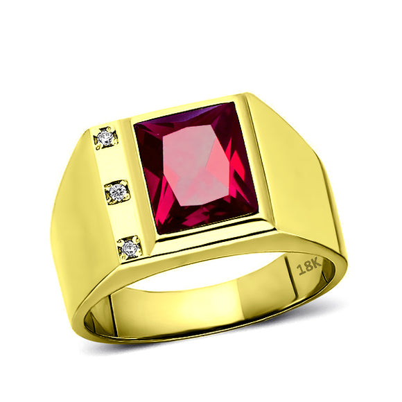 18K Real Yellow Fine Gold Red Ruby Mens Ring with 3 Natural Diamonds Accents
