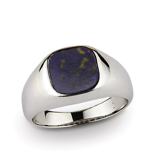 925 Fine Sterling Silver Natural Flat Blue Lapis Gemstone Statement Mens Ring