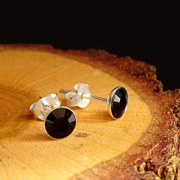 Solid 925 Sterling Silver Men's Stud Earrings With Onyx Stone