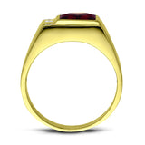 Solid 10K Yellow Fine Gold Red Ruby Mens Ring with 0.06ct Natural Diamonds