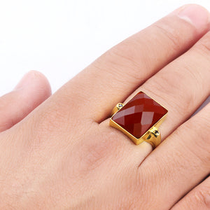 10k Yellow Solid Gold Men's Ring with Natural Red Agate Stone - J  F  M