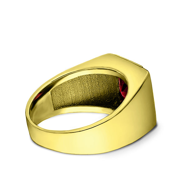 18K Gold Plated on 925 Solid Silver Mens Red Ruby Ring With 3 Diamond Accents