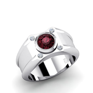 Gemstone Ring for Man with 4 DIAMONDS and Red Ruby in 925 Silver Wedding Jewelry