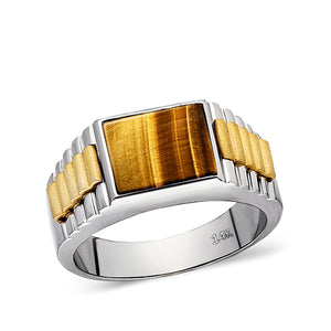 Tiger's Eye Jewelry Man Statement Solid Fine 14k White Gold Mens Heavy Wide Ring