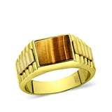 18K Yellow Gold Plated Mens Heavy Silver Ring Band Large Tiger's Eye Jewelry
