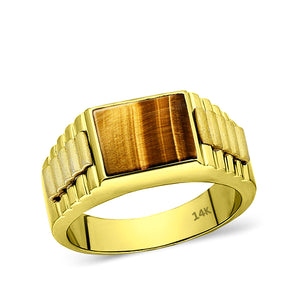Tigers Eye Jewelry Man Statement Solid Fine 14k Yellow Gold Mens Heavy Wide Ring