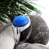 Men's Ring 925 Silver with Natural Blue Turquoise Gemstone - J  F  M