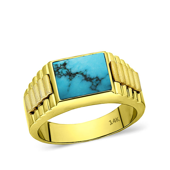 Turquoise Jewelry Man Statement Solid Fine 14k Yellow Gold Men's Heavy Wide Ring
