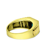 18K Yellow Gold Plated Mens Heavy Silver Ring Band Large Turquoise Stone Jewelry