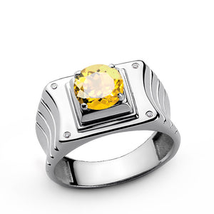 Sterling Silver Men's Ring with Natural Diamonds and Yellow Citrine - J  F  M