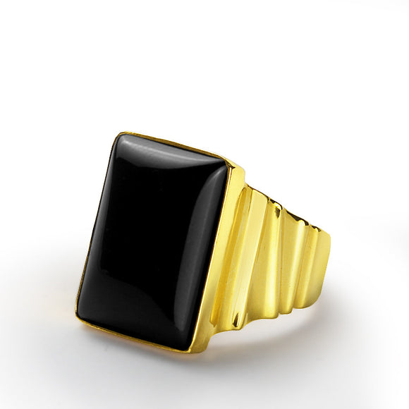 Men's Ring with Natural Black Onyx Gemstone in 14k Yellow Gold - J  F  M