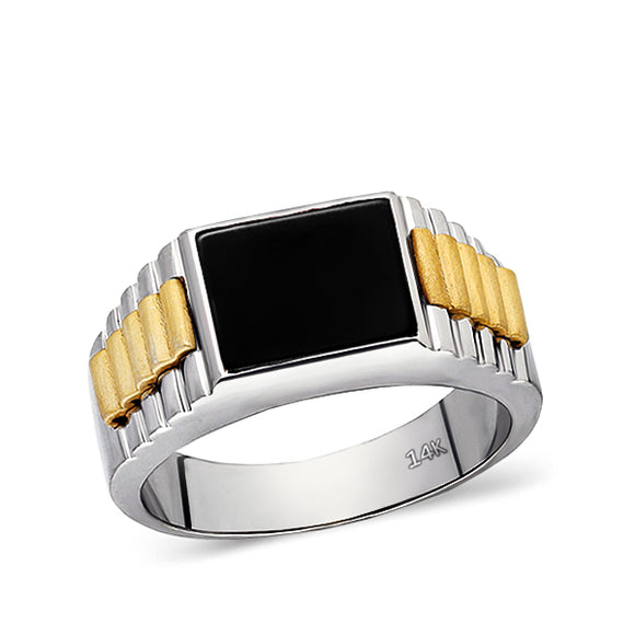 Metal: 14K Solid White Gold Yellow parts: 14K Yellow Gold (matte) Stone: Black Onyx Cut: Rectangular Dimensions: 8mm x 10mm