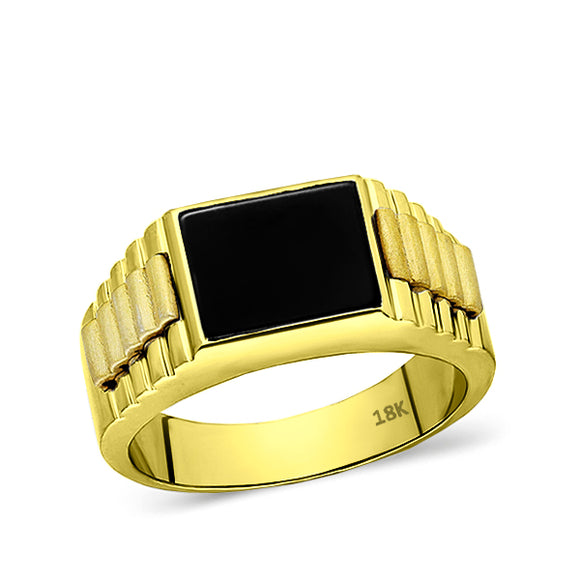 18K Solid Yellow Gold Mens Ring With Natural Rectangle Black Onyx Stone All Sz