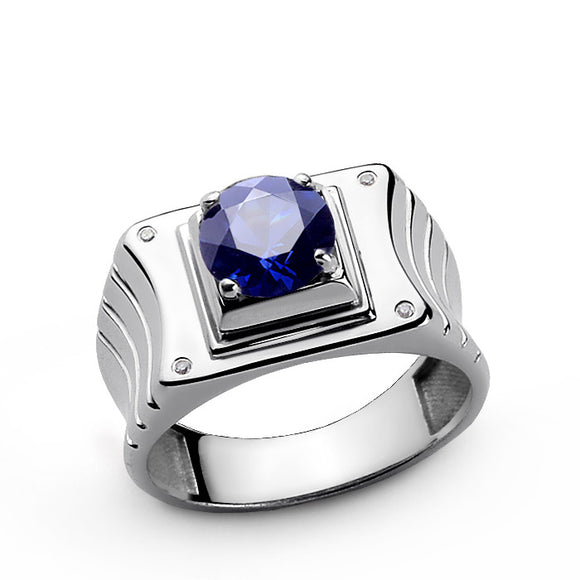 Men's Ring Sterling Silver with Diamonds and Blue Sapphire Gemstone - J  F  M