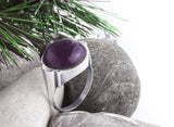 Amethyst Men's Ring in Sterling Silver, Natural Stone Ring for Men - J  F  M