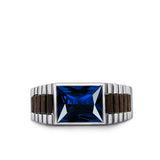 Mens Band Ring Blue Sapphire Gemstone Solid Real 925 Sterling Silver Jewelry