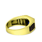 Solid 10k Yellow Gold Mens Ring Blue Sapphire Gemstone Modern Band Ring for Man
