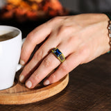 18K Yellow Gold Plated on Mens Heavy 925 Silver Sapphire Band Ring All sizes