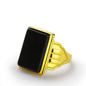 Men's Ring Black Onyx in 10k Yellow Gold, Natural Stone Ring for Men - J  F  M