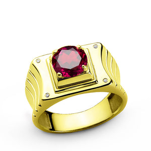 14k Yellow Gold Men's Ring with Ruby Gemstone and Natural Diamonds - J  F  M