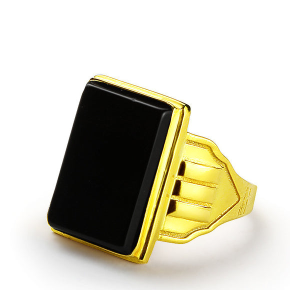 Men's Ring in 14k Gold with Natural Black Onyx Stone - J  F  M