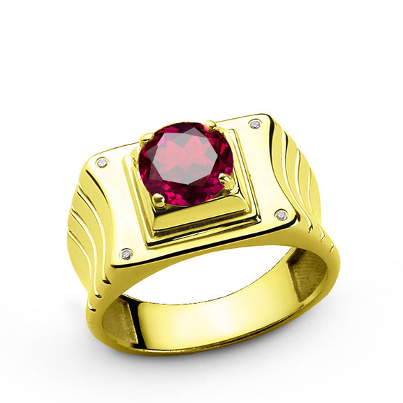10k Yellow Solid Gold Men's Ring with Ruby Gemstone and Genuine Diamonds - J  F  M
