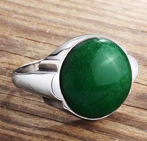 Men's Gemstone Ring in 925 Sterling Silver with Natural Green Jade - J  F  M