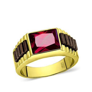 18K Yellow Gold Plated Mens Heavy Silver Band Ring Red Ruby Gemstone Jewelry