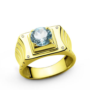 Men's Ring with Blue Topaz and Diamonds in 14k Yellow Gold - J  F  M